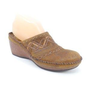 Clarks Artisan Leather Wedge Heel Clogs